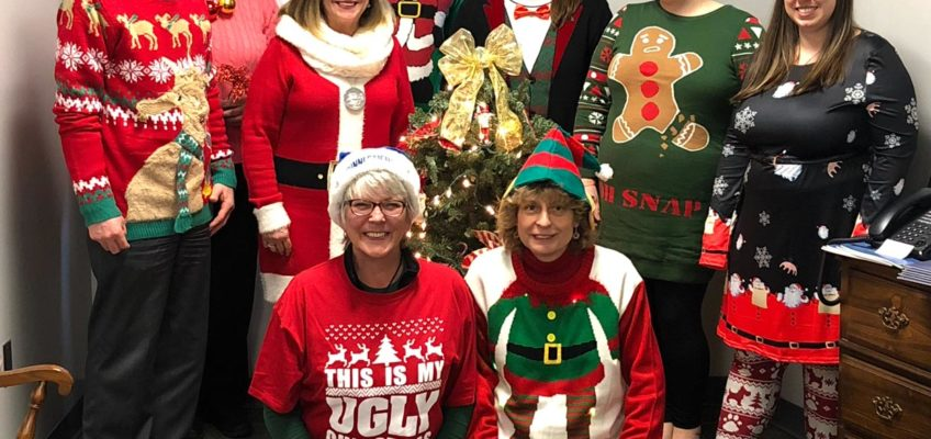 PPSC staff in their Christmas sweaters