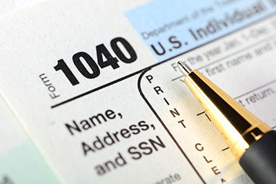 CPA firm with 1040 tax form for tax planning and tax preparation